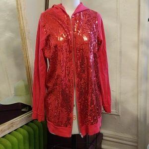 Roaman's Red Sequin Hoodie Sweatshirt Jacket